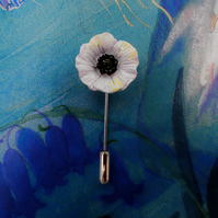 SMALL WHITE PEACE POPPY PIN Wedding Remembrance Lapel Flower Brooch HAND PAINTED