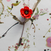 TINY RED POPPY PIN Wedding Corsage Remembrance Lapel Flower Brooch HAND PAINTED