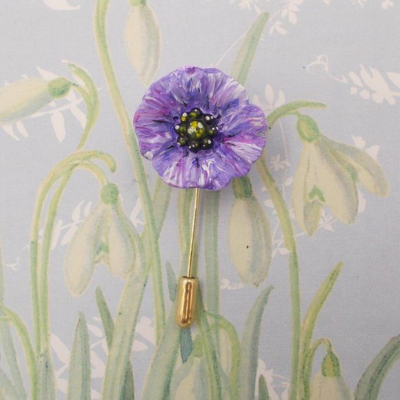 PURPLE POPPY PIN Animal Memorial Pin War Amimals Remembrance Brooch HAND PAINTED