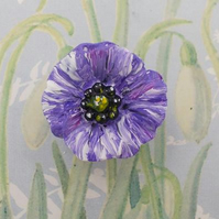 PURPLE POPPY BROOCH Animal Memorial Pin War Amimals Remembrance Pin HAND PAINTED