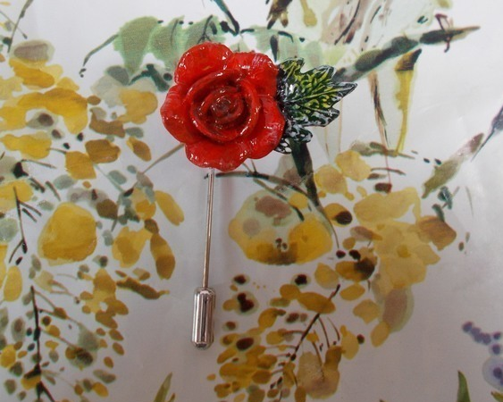 Delicate RED ROSE & LEAF PIN Wedding Love Token Lapel Pin HANDMADE HAND PAINTED