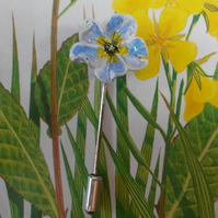 Small Forget-Me-Not Blue PRIMULA PIN POLYANTHA Lapel Brooch HANDMADE HANDPAINTED