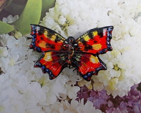 RED ADMIRAL BUTTERFLY BROOCH Red Wedding Butterfly Corsage HANDMADE HAND PAINTED