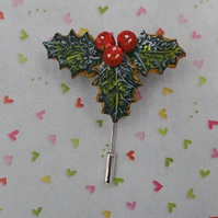 Christmas HOLLY & RED BERRIES PIN Xmas Lapel Brooch HANDMADE HAND PAINTED