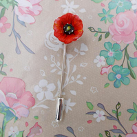 TINY RED POPPY PIN Red Wedding Corsage Poppy Lapel Flower Brooch HAND PAINTED
