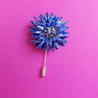 CORNFLOWER PIN 3D Blue Wedding Flower Corsage Lapel Brooch HANDMADE HAND PAINTED