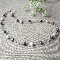 Peacock Pearl & Crystal Floating Necklace