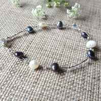 Peacock Pearl & Crystal Floating Bracelet