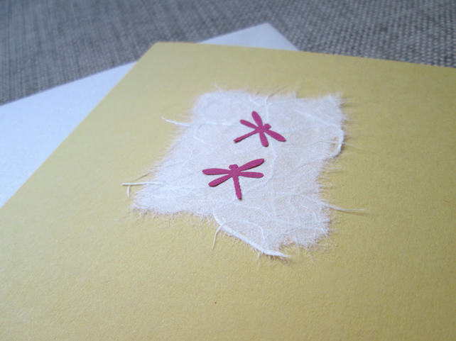 Pink on Yellow Dragonflies Card