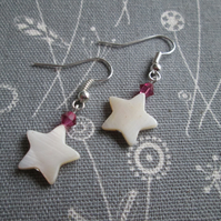Star Earrings with Pink