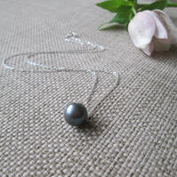 Slate Pearl Pendant Necklace