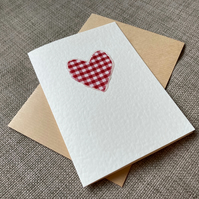 Red Gingham Heart Card