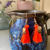 Bright Orange & Gold Tassel Earrings