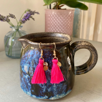Neon Pink & Gold Tassel Earrings