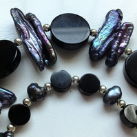 Deep purple Biwa Pearls and Onyx double string necklace and earrings set