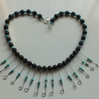 electricial resistors necklace onyx and turquoise hand crafted