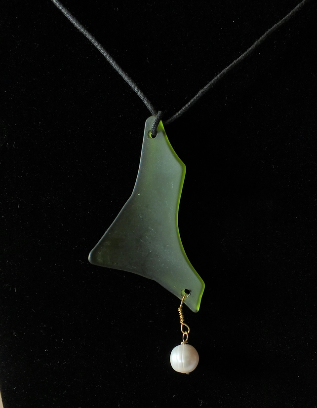 Green Seaglass and natural Pearl pendant