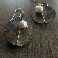 Flame painted Copper and Pearl earrings