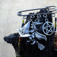 Witch on broomstick Halloween charm brooch