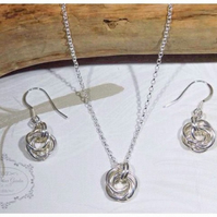 Mobius Chainmaille Set, Necklace & Earrings, Rose Necklace, Silver Earrings,