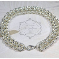 Ladies Chainmaille Bracelet, Silver Link Bracelet, Mothers Day, Birthday Gift