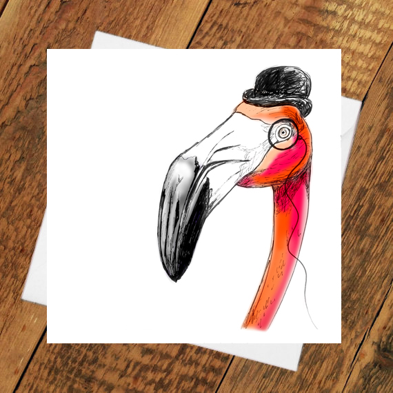 Frank the Flamingo Greetings Card