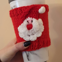 Christmas Coffee Cup Cosy, Knitted Cosy, Stocking Filler, Coffee Lovers Gift