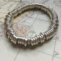 Silver Plated Spacer Beaded Stretch Bracelet