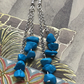 Turquoise Chip Bead & Silver Plated Dangle Earrings