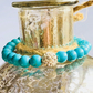 Turquoise & Crystal Beaded Stretch Bracelet