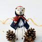 Snow White Polar bear with red apple Christmas gift or tree decoration.