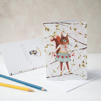A6 greeting card. Red lady squirrel with chain of hearts amongst blossom flowers