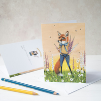Fox with foxgloves summer illustration greeting card. A6. Blank inside.