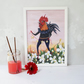 Cockerel at dawn A4 illustration print. Unframed. Ideal nursery wall art