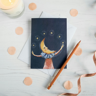 Crescent moon man with stars illustrated blank A6 greeting card. Unisex
