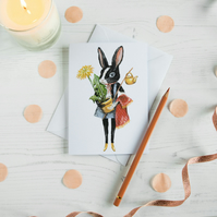 Black and white rabbit illustrated greeting card. Easter, Birthday, new home.