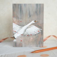 Illustrated swan greeting card. Valentines, Birthday, Anniversary, Mothers day.