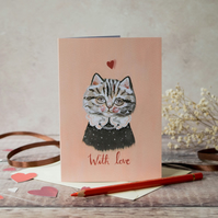 Tabby cat greeting card, A6. With love card. Valentines day, Birthday
