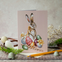 Easter bunny note card. A6. Vintage style Easter card. Easter rabbit