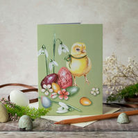 Easter chick card. A6 greeting card. Yellow chick, Easter egg card