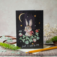 Just a note to say- rabbit card. A6. Rabbit with the moon and clover