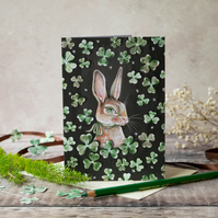 Rabbit with shamrocks blank greeting card. A6. St Patrick's day, Birthday