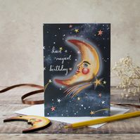 A6 card- Crescent moon man with shooting star. Birthday card