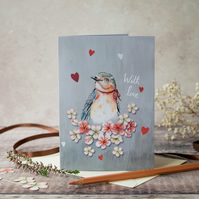 Bluebird A6 greeting note card. Mothers day card, Birthday card