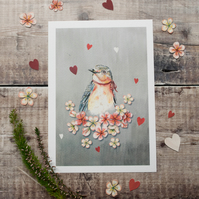 A5 mini print of a bluebird. Bird with blossom illustration