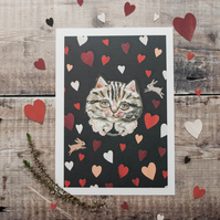 A5 tabby cat art print. Love hearts, romantic, Valentines day