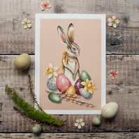 Mini print of the Easter bunny. Vintage style. A5