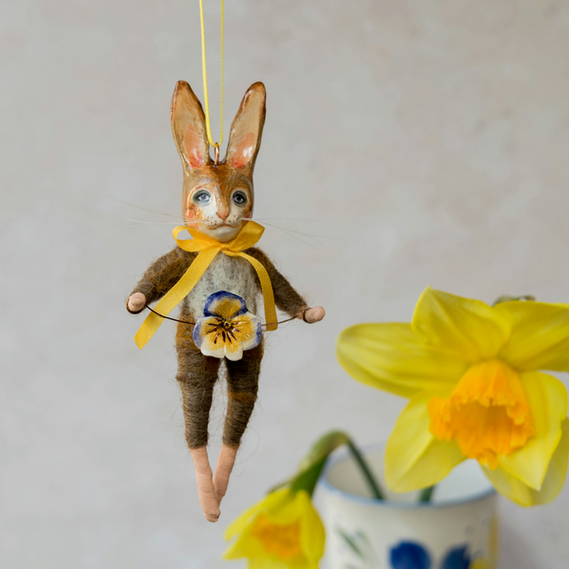Ginger rabbit Easter hanging decoration. Merle the rabbit