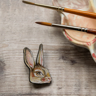 Bunny rabbit laser cut wooden brooch