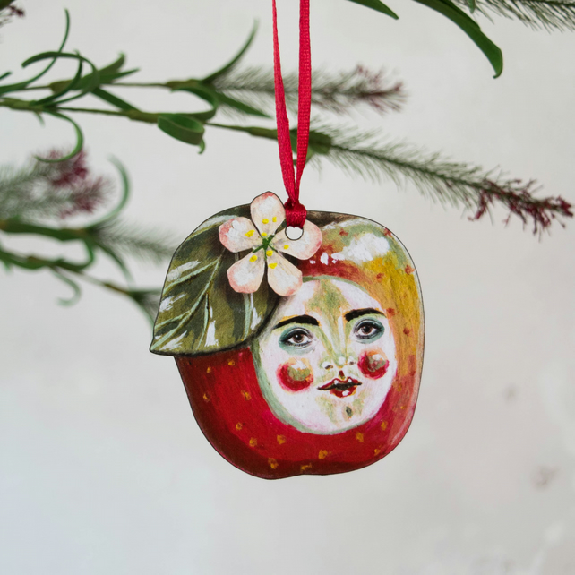 Tommy red apple illustrated hanging decoration